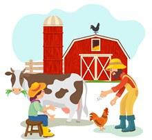 创意农场农夫和动物图矢量图
