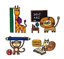 4款彩色开学动物矢量