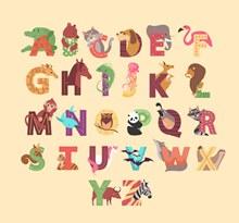 26个创意动物装饰字母图矢量图片