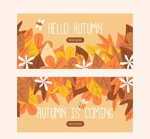2款创意秋季树叶banner图矢量图