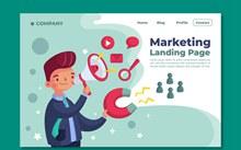 创意人物市场营销网站登录页图矢量