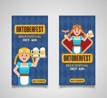 2款创意啤酒节人物banner图矢量素材