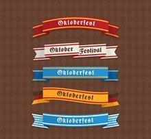 5款彩色慕尼黑啤酒节条幅图矢量下载