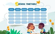 创意儿童空白校园课程表图矢量图下载