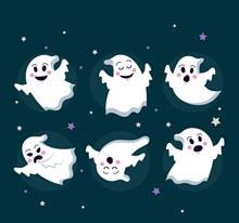 6款可爱动感幽灵矢量图