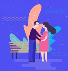 创意孕妇和丈夫矢量
