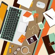 创意摆满物品的办公桌图矢量图下载