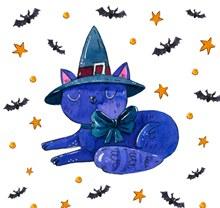 水彩绘蓝色猫咪矢量