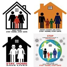抗击疫情居家隔离标志创意矢量