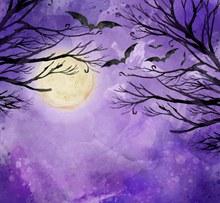 万圣节夜晚枯树风景矢量素材