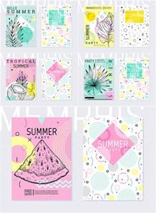 手绘素描元素夏日海报设计矢量下载