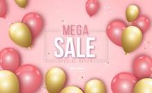 金色粉色气球促销海报矢量素材