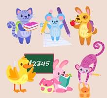 6款可爱上学动物矢量图下载