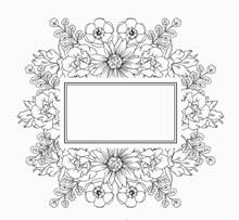 手绘无色花卉框架矢量图下载
