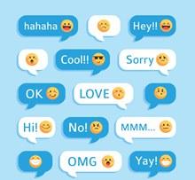 15款创意表情语言气泡矢量图