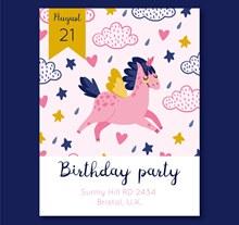 粉色独角兽生日派对传单图矢量