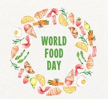 彩绘世界粮食日食物圆环设计矢量图片