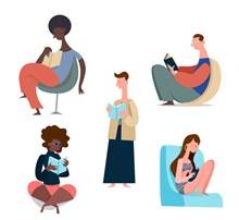 5款创意阅读人物设计矢量图下载