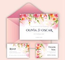 彩绘玫瑰花婚礼邀请卡和信封图矢量图