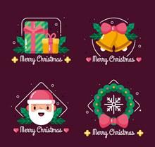 4款彩色圣诞快乐标签设计矢量图