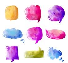 9款水彩绘语言气泡设计矢量