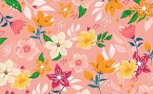 水彩绘花卉无缝背景设计矢量下载