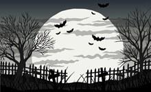 恐怖夜晚墓地风景矢量素材
