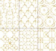 6款金色花纹无缝背景设计矢量素材