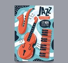 创意乐器爵士音乐节传单矢量图片