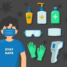 创意戴口罩男子和医用防护用品图矢量下载
