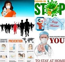 新冠疫情呆在家中人物创意矢量图片