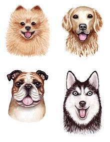 水彩效果的几只犬创意设计矢量