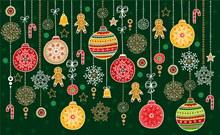 彩色花纹圣诞节挂饰矢量