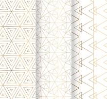3款金色花纹无缝背景矢量素材