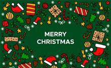 彩色圣诞节元素贺卡矢量图片