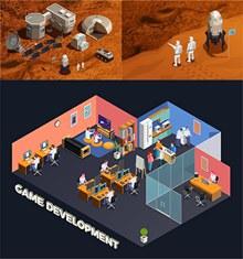 游戏开发与外星探测等创意矢量图片