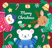 可爱动物圣诞贺卡矢量图