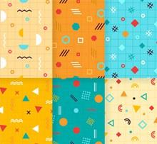 6款创意孟菲斯风格无缝背景图矢量下载