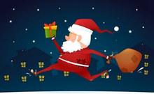 创意夜晚送礼物的圣诞老人图矢量图片