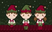 3款可爱屋顶上的圣诞节精灵矢量图下载