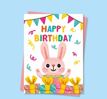 可爱兔子生日派对传单矢量下载