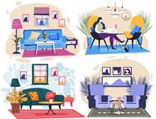 4款彩色时尚客厅设计矢量下载