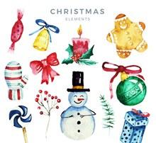 12款水彩绘圣诞节元素矢量图片