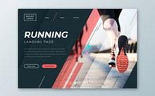 创意跑步人物网站登录界面图矢量素材