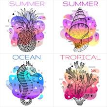 炫彩夏季海报矢量图片