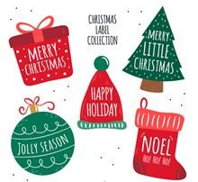 6款彩色圣诞节祝福标签图矢量图