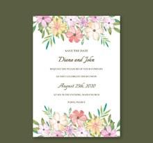 彩色花卉婚礼邀请卡设计矢量