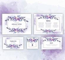 5款彩绘花卉婚礼卡片设计图矢量图片
