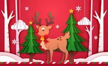 创意圣诞麋鹿剪贴画矢量下载