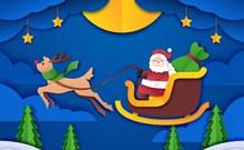 创意圣诞雪橇和圣诞老人剪贴画图矢量图片